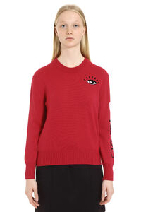 Wool-cotton blend crew-neck pullover, Crew neck sweaters Kenzo woman