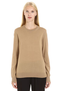 Merino wool pullover with elbow-patches, Crew neck sweaters Burberry woman