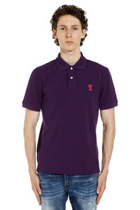Patch embroidered cotton piqué polo shirt, Short sleeve polo shirts AMI man