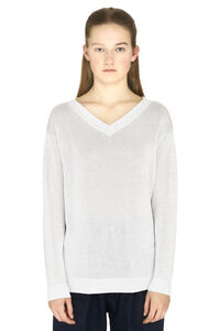 Cotton V-neck pullover, V neck sweaters Brunello Cucinelli woman