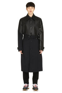 Gabardine and leather trench coat, Leather jackets Bottega Veneta man