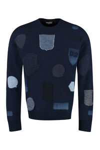 Intarsia crew-neck sweater, Crew necks sweaters Dsquared2 man