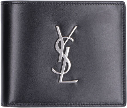 East/West leather wallet with logo, Wallets Saint Laurent man