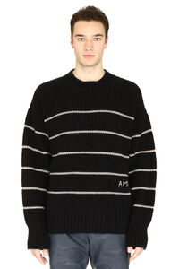 Virgin wool pullover with embroidery, Crew necks sweaters AMI man