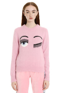 Flirting intarsia crew-neck sweater, Crew neck sweaters Chiara Ferragni Collection woman