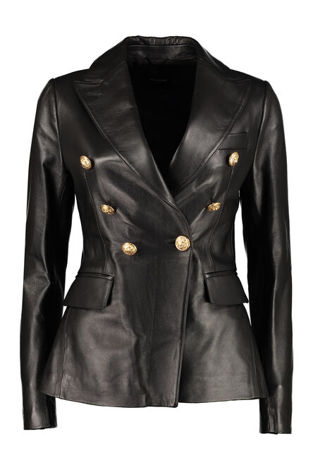 Lizzie leather double breasted blazer, Leather Jackets 0205 Tagliatore woman