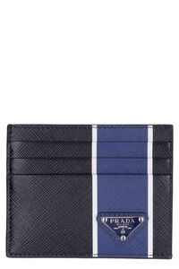 Logo detail leather card holder, Wallets Prada man