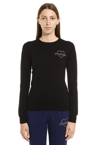Virgin wool crew-neck pullover, Crew neck sweaters Love Moschino woman