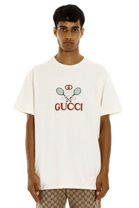 Logo embroidery cotton t-shirt, Short sleeve t-shirts Gucci man