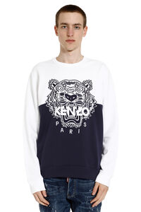 Colorblock Tiger embroidered cotton sweatshirt, Sweatshirts Kenzo man