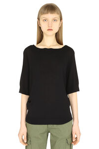 Knitted viscosa-blend top, Crew neck sweaters Parosh woman