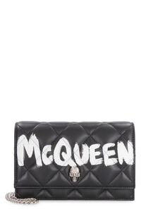 Skull leather clutch with strap, Clutch Alexander McQueen woman
