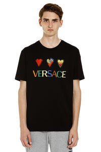 Embroidered cotton T-shirt, Short sleeve t-shirts Versace man