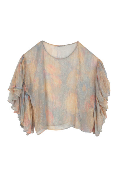 Pensee ruffled printed blouse