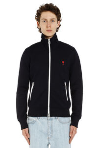 Patch detail full-zip sweatshirt, Zip through AMI man