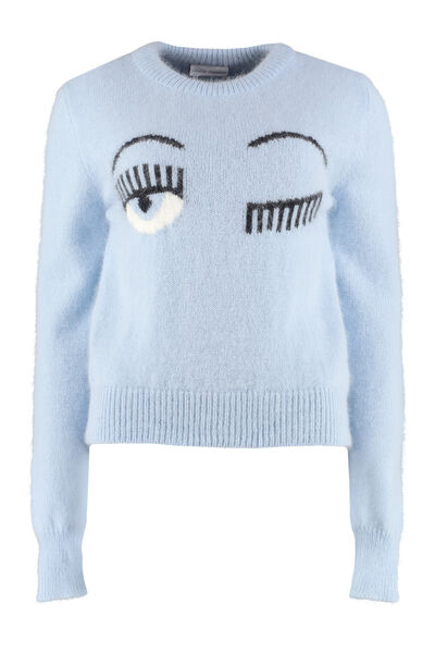Flirting intarsia crew-neck sweater