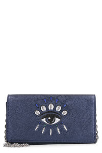 Kontact Eye metallic leather wallet on chain, Clutch Kenzo woman