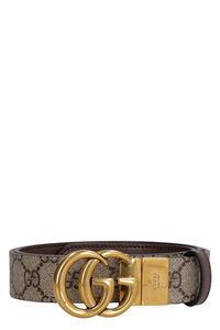 Leather and GG supreme fabric reversible belt, Belts Gucci woman