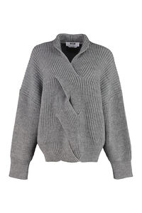 Ribbed knit pullover, V neck sweaters MSGM woman