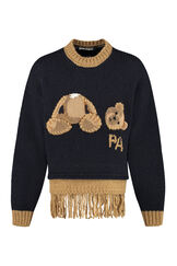Fringed wool sweater, Crew necks sweaters Palm Angels man