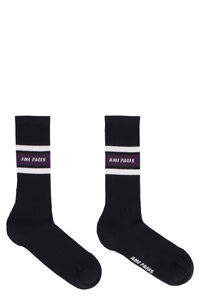 Logo cotton blend socks, Socks AMI man