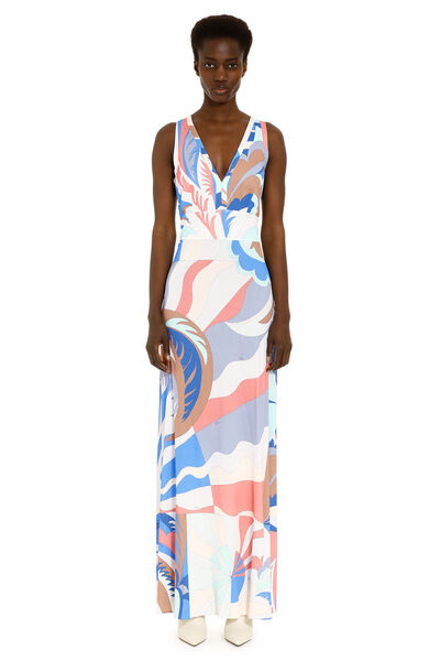 Multicolor jersey long dress
