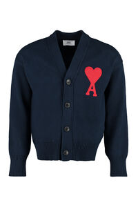 Wool blend cardigan with buttons, Cardigans AMI PARIS man