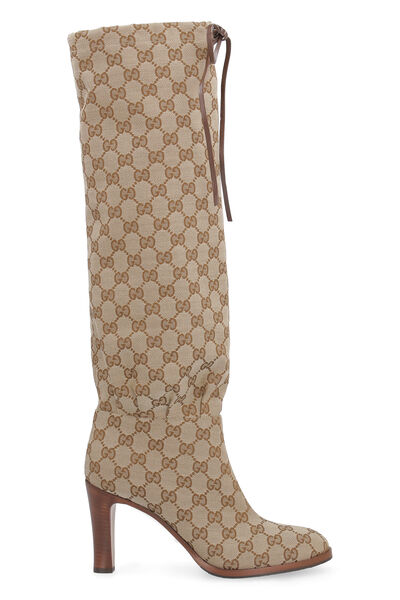 GG fabric knee-high boots