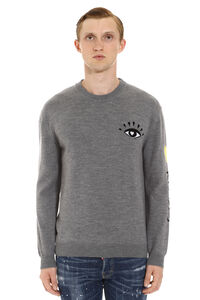 Wool-cotton blend crew-neck pullover, Crew necks sweaters Kenzo man