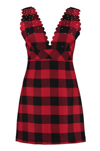 Mescolare embellished tartan-wool dress, Mini dresses Pinko woman
