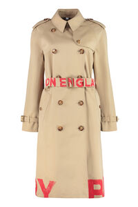 Logo print gabardine trench coat, Raincoats And Windbreaker Burberry woman