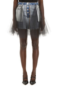 Tulle and denim mini skirt, Denim Skirts Unravel Project woman