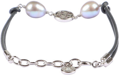 Miller pearls and logo charm leather bracelet