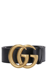 Leather belt with double 'G' buckle, Belts Gucci man