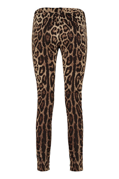 Printed stretch cotton trousers