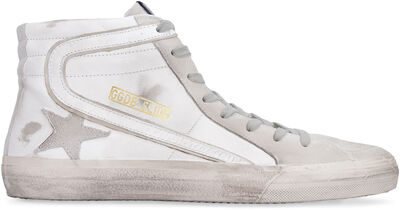 Slide high-top leather sneakers
