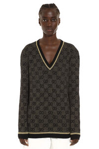 V-neck wool sweater, V neck sweaters Gucci woman