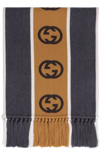 Wool scarf with fringes, Scarves Gucci man