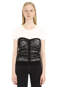 Scovare cotton top with lace details, Blouses Pinko woman