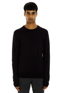 Wool-cotton blend pullover with elbow patches, Crew necks sweaters Maison Margiela man