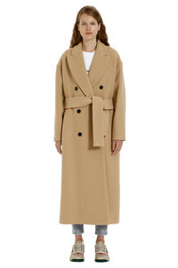 Virgin wool long coat, Double Breasted MSGM woman