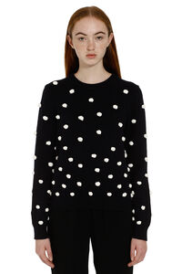 Tricot sweater with pom-poms, Crew neck sweaters Tory Burch woman