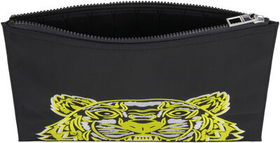 Tiger embroidered nylon pouch-bag