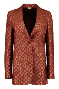 Jacquard motif one-button blazer, Blazers Gucci woman