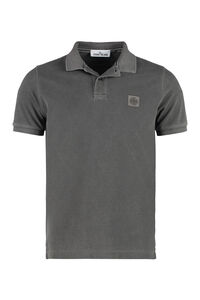 Logo detail stretch cotton polo shirt, Short sleeve polo shirts Stone Island man