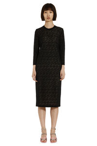 Knitted sheath dress, Knee Lenght Dresses Fendi woman