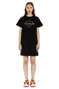 Logo detail cotton sweatdress, Mini dresses Love Moschino woman