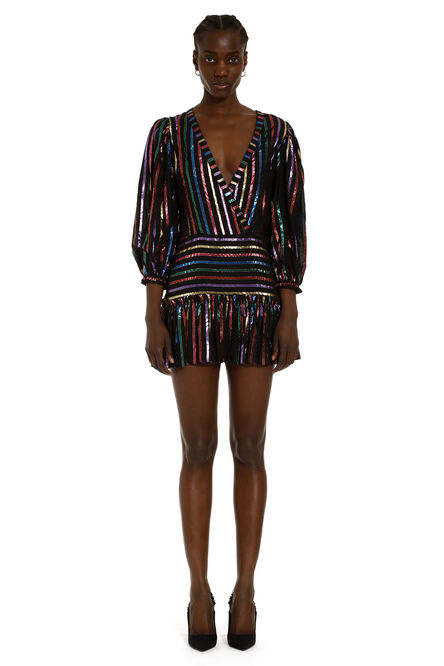 Lurex stripes cotton dress, Mini dresses The Attico woman