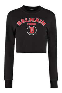 Logo detail cotton sweatshirt, Sweatshirts Balmain woman