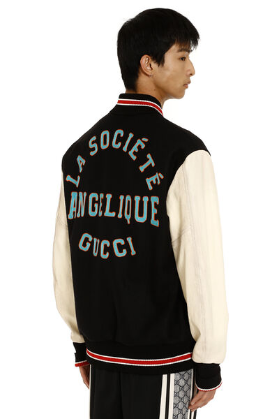 Wool bomber jacket with patch